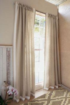 Linen Border Drapery Panel - Linen Drapery Panel, Window Panel, Window Coverings | Soft Surroundings