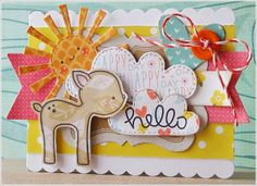 Lawn Fawn - Hello Sunshine, Into the Woods + coordinating die, Spring Showers Lawn Cuts dies, Hello Sunshine, Let's Polka and Pink Lemonade paper, Coral Lawn Trimmings _  super cute card by Nicola via Flickr - Photo Sharing!