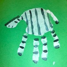 zebra handprint. fun craft for a zoo animal theme