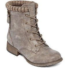 Pop Hemet Lace-Up Combat Booties ($28) ❤ liked on Polyvore featuring shoes, boots, ankle booties, combat booties, military boots, military lace up boots, side zip combat boots and laced boots