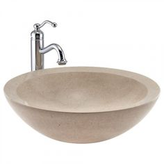 Round Polished Marble Vessel Sink - Polished Cream Egyptian Marble