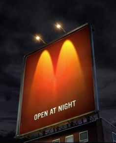 McDonalds creative advertising  http://smokingdesigners.com/25-creative-mcdonalds-advertisements/  Wow~ at first glance, I associates it with car's headlights. XD