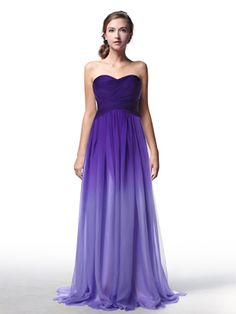 Purple Ombre Sweetheart Neck Long Chiffon Prom Dress/Bridesmaid Dress