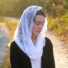 Traditional Catholic Pure White Infinity Veil by RobinNestLane