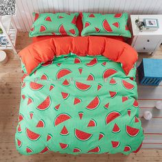 Cartoon Red Watermelon Bedding Set Melon seed Bed Set Duvet Cover Bed Sheet Pillowcase Soft and Comfortable king queen size Bedding Sets Online, Queen Bedding Sets, Luxury Bedding Sets, Comforter Sets, Bed Covers, Duvet Cover Sets, Teal Bedding, Cute Room Decor, Dream Rooms