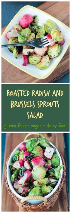 Roasted Radish and Brussels Sprouts Salad - an easy, tasty side dish for any day, but especially beautiful on a holiday table. Roasting gives these veggies a lovely caramelization and really mellows out the radishes.