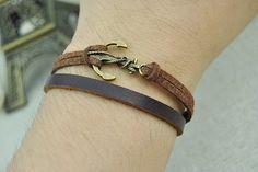 Retro anchor braceletAnchor charm braceletBrown cuff by Evanworld, $1.99 Fashion personalized charm bracelets, friendship birthday, the best gift.