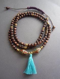 108 Mala necklace Mala Meditation Necklace tassel by Muse411
