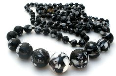 """14k Gold Glass Bead Necklace 39"""" Hand Knotted Black White Graduated Vintage  #Unbranded #Beads"""
