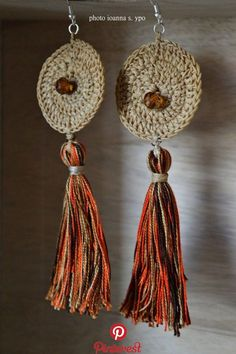 Crochet circles - Statement Geometric Earrings, Funky beige crochet circle with handmade autumn colors tassels, Large dangle colorful bohemian jewelry for her – Crochet circles Diy Earrings, Crochet Earrings, Quilling Earrings, Custom Jewelry, Diy Jewelry, Jewellery, Crochet Circles, Jewelry For Her, Crochet Patterns For Beginners
