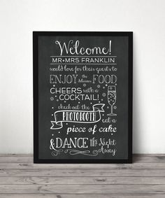 Custom Chalkboard Wedding Reception Welcome Sign