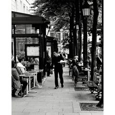 Paris Black and White Photography - Dinner is Served - French Cafe... ($30) ❤ liked on Polyvore