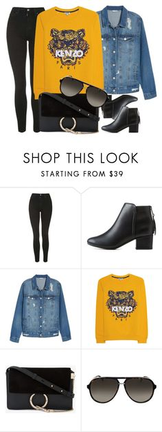 """""""18:35"""" by monmondefou ❤ liked on Polyvore featuring Topshop, City Classified, BP., Kenzo, Chloé, Gucci, yellow, black and denim"""
