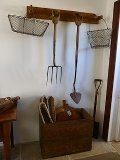 The Drill Hall Emporium's stall at Runnymede, Tasmania including English antique garden tools and wire baskets Garden Tool Storage, Garage Storage, Old Garden Tools, Wire Baskets, Antique Stores, Tasmania, Logs, Indoor Garden