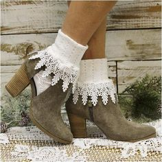 socks for women, boot socks, cute lace socks, trending, fall fashion BOOTIE lace cuff socks - white Fish Net Tights Outfit, Lace Boot Socks, Wedding Socks, Victorian Lace, Lace Cuffs, Socks And Heels, Rose Lace, Fashion Socks, Bare Foot Sandals