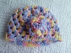 Granny Square Baby Beanie with matching rose by MinervaParked, $10.00