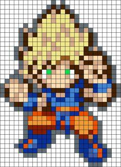 Super Saiyan Goku Perler Bead Pattern / Bead Sprite