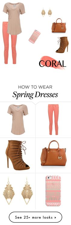 """""""summer corals"""" by hannahstrickland489 on Polyvore featuring Burberry, Casetify, J Brand, Bobi, MICHAEL Michael Kors, Charlotte Russe and coolcorals"""