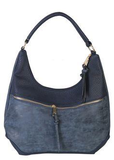 Navy Contrast Fade Wash Soft Faux Leather Shoulder Fashion Handbag hobo Purse - Purses.com