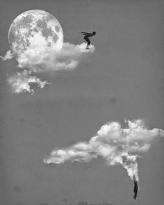 moon, clouds, and sky image Jerry Uelsmann, Kunst Online, Photo D Art, Photocollage, Surreal Art, Photo Manipulation, Belle Photo, White Photography, Collage Art