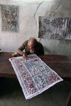 Iran, painter of persian rug, handwoven carpet.