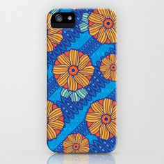 Blue Boho Blossoms iPhone Case by robyriker - $35.00