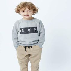 Munster khaki pants, which go back with a long sleeve top. Match back with Munster pants. Available at Little Styles. Stylish Boy Clothes, Stylish Boys, Boy Outfits, Long Sleeve Tops, Khaki Pants, Graphic Sweatshirt, Sweatshirts, Sweaters, Style