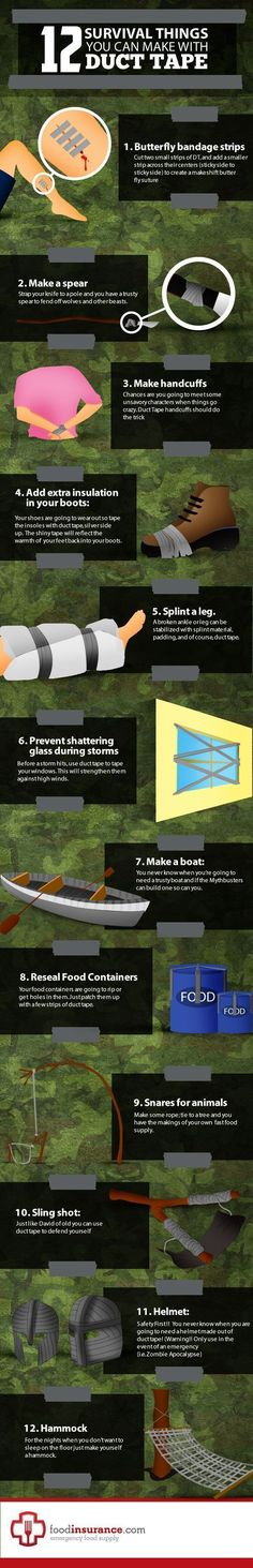Learn the importance of duct tape for preppers infographic. Prepare for tomorrow with duct tape for preppers infographic as part of your survival, preparedness plan. Apocalypse Survival, Survival Mode, Homestead Survival, Wilderness Survival, Survival Tools, Camping Survival, Outdoor Survival, Survival Prepping, Camping Hacks