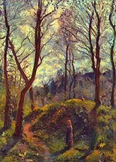 "CAMILE PISSARRO (Danish-French Impressionist and Neo-Impressionist painter: 1830-1903) / Landscape with Big Trees - WikiArt.org / Cézanne said ""he was a father for me. A man to consult and a little like the good Lord,"" and he was also one of Gauguin's masters. Renoir referred to his work as ""revolutionary"", through his artistic portrayals of the ""common man"", in natural settings without ""artifice or grandeur"""