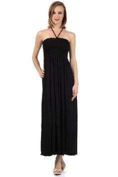 a37c971529d7 Sakkas 5026 Comfortable Jersey Feel Solid Color Smocked Bodice String  Halter Maxi   Long Dress -