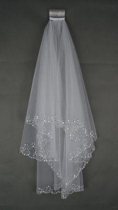 ! weiß Elfenbein /ivory Brautschleier Kamm handgemachte wulstige sequin 80 cm lpvw in Kleidung & Accessoires, Hochzeit & Besondere Anlässe, Braut-Accessoires | eBay