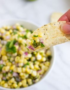 Copycat Chipotle Copycat Chipotle's Corn Salsa- two secret ingredients give this salsa it's irresistible flavor! Mexican Dishes, Mexican Food Recipes, Dinner Recipes, Chipotle Corn Salsa, Corn Salsa Dip, Cooking Recipes, Healthy Recipes, Fondue Recipes, Sauces
