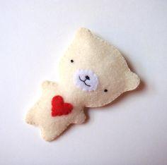 My Craft / Cream White Teddy Bear Felt Brooch by MiKa Art