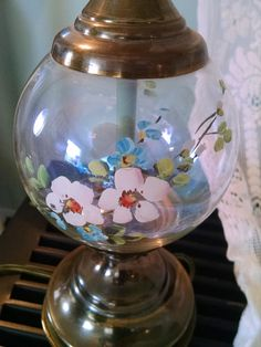Your place to buy and sell all things handmade Vintage Lamps, Vintage Lighting, Vintage Home Decor, Painted Cottage, Glass Ball, Hand Blown Glass, Table Lamp, Painted Flowers, Hand Painted