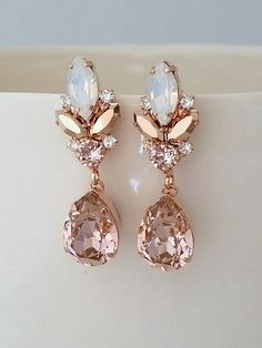 Blush chandelier earrings,Blush Bridal earrings,Morganite earrings,Bridal earrings,Vintage earrings,Swarovski earring,Bridal wedding jewelry by EldorTinaJewelry on Etsy | http://etsy.me/2khIUzY
