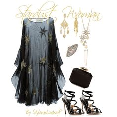 Stardust Woman by stylemelindsayp on Polyvore featuring moda, Yves Saint Laurent, Sergio Rossi, Alexander McQueen, Bee Goddess and Moritz Glik