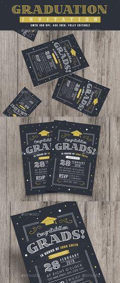 Chalkboard Style Graduation invitation — Photoshop PSD #invitation card #senior • Download ➝ https://graphicriver.net/item/chalkboard-style-graduation-invitation/19623052?ref=pxcr