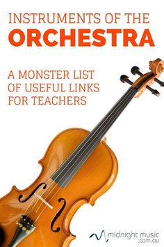 Instruments of the Orchestra: A Monster List of Useful Links for Teachers ♫- YOUR FREE GIFT HERE -♫ education lessons education elem. Preschool Music, Teaching Music, Music Teachers, Teaching Resources, Music Education Games, Music Activities, Physical Education, Health Education, Education Posters