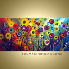 Original Modern Flowers Large Painting Whimsical by LUIZAVIZOLI, $345.00