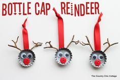Bottle Cap Reindeer Kids Craft