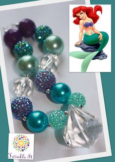 Little Mermaid Chunky beaded Necklace by Twinkleit on Etsy, $22.00