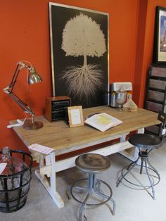 Love the tree poster. Love the industrial elements.