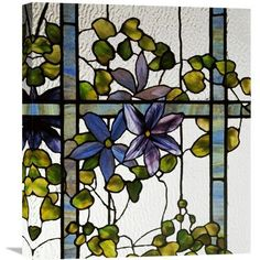 """Global Gallery 'Detail of a Clematis' by Tiffany Studios Painting Print on Wrapped Canvas Size: 22"""" H x 19.23"""" W x 1.5"""" D"""