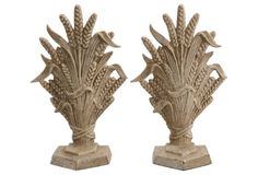 """Vintage/Antique Iron Wheat Sheaf Bookends   7"""" x 4"""" x 11""""   115.00 USD one kings lane"""