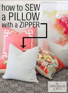 How to make the simplest pillows ever! Love this no-sew pillow tutorial with glow .How to make the simplest pillows ever! Love this no-sew pillow tutorial with glue.How to sew a pillow with a zipper Sewing Hacks, Sewing Tutorials, Sewing Crafts, Sewing Patterns, Sewing Tips, Basic Sewing, Skirt Patterns, Dress Tutorials, Coat Patterns