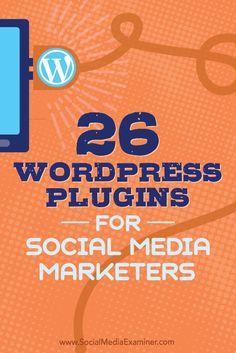 Tips on 26 WordPress plugins social media marketers can use to improve your blog. Analisamos os 150 Melhores Templates WordPress e colocamos tudo neste E-Book dividido por 15 categorias e nichos de mercado. Download GRATUITO em http://www.estrategiadigital.pt/150-melhores-templates-wordpress/
