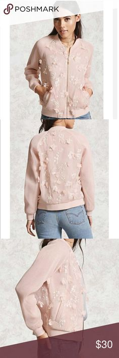 Mesh Bomber Jacket NWOT Floral embroidered mesh bomber jacket. Light pink. New without tags, never worn!                        •n o  t r a d e s• •s m o k e  f r e e / p e t  f r e e  h o m e•   •s a m e / n e x t  d a y  s h i p p i n g• Forever 21 Jackets & Coats