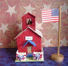 Patriotic Paper putz style village school house and flag pole