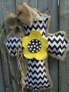 Burlap Cross Burlap Door Hanger Black and White Chevron with Flower on Etsy, $34.00