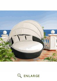 "Siesta Outdoor Rattan Canopy Bed - EEI-642-EXP (Available in Various Colors); 63""(W) x 31.5""(H); $841"